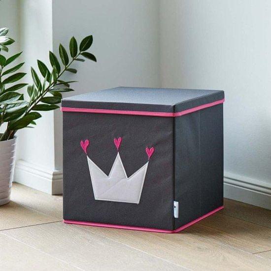 Love It Store It Úložný box na hračky s krytom - šedý, biela koruna