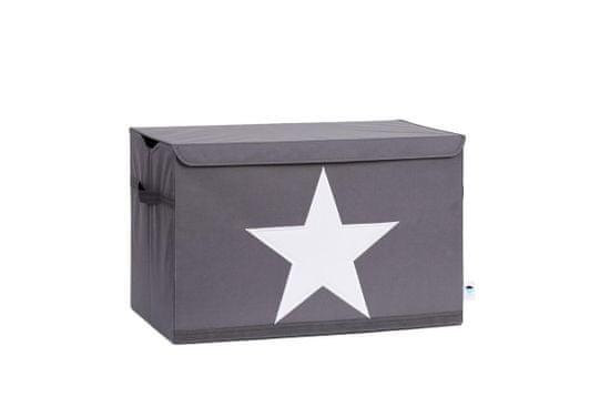 Love It Store It Truhlica na hračky - šedá, biela hviezda - posilnená MDF materiálom