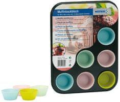 Plech na pečení muffinů 35,5 × 26,5 × 3 cm vč. 12 silikon. formiček