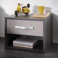 IDEA nábytek Noční stolek GRAPHIC tmavý dub/šedá