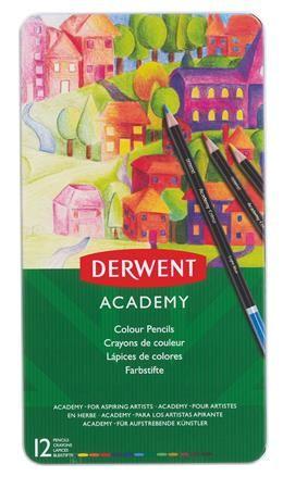 """DERWENT Pastelky """"Academy"""", 12 různých barev"""