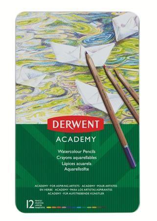 """DERWENT Akvarelové pastelky """"Academy"""", 12 různých barev, plechová krabička"""
