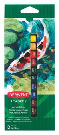 """DERWENT Akrylová barva """"Academy, 12 různých barev, 12 ml"""