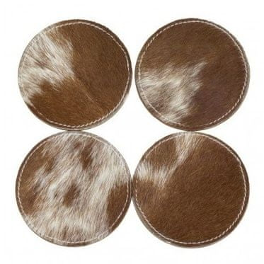 Mars & More Sada kožených podtáciek so stojanom, hnedo-biela svetlá