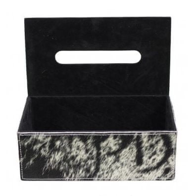 Mars & More Kožený box na papierové vreckovky, hnedo-biely tmavý