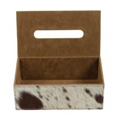 Mars & More Kožený box na papierové vreckovky, hnedo-biely svetlý