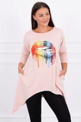 Kesi Tričko s potiskem duhových rtů, oversized, světle růžová, velikost Universal
