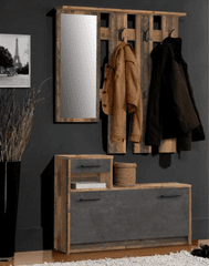 Nejlevnější nábytek Předsíňová stěna DELMAR, old wood vintage/beton, 5 let záruka