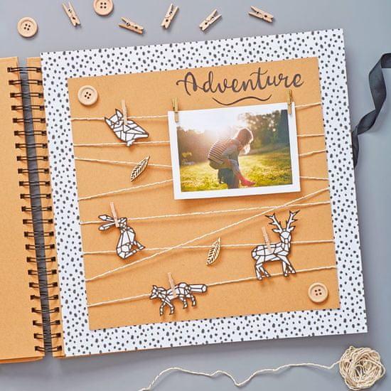 Kroužkové camel album na fotografie a scrapbooking kraft 30 x 30 cm