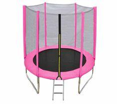 DUVLAN Trampolína FunJump Pink 244 cm + ochranná síť + schůdky