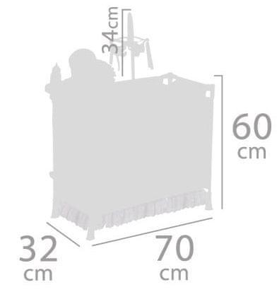 DeCuevas 53035 Skládací postýlka pro panenky s 5 funkčními doplňky