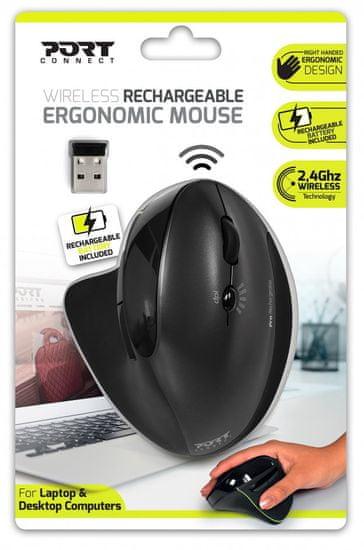 Port Designs miška, brezžična, polnilna, črna (900706) - Odprta embalaža