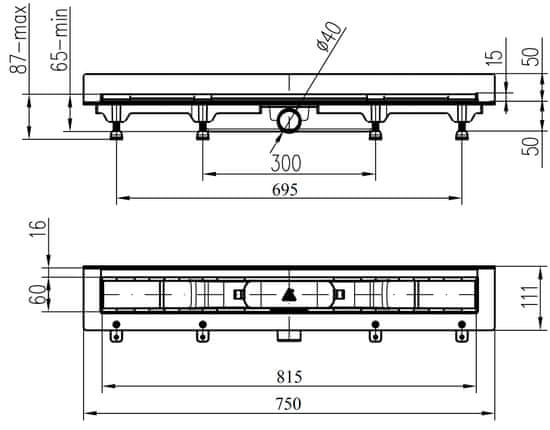 Liv W 750 M GALAXY kanalica za tuš (674790)