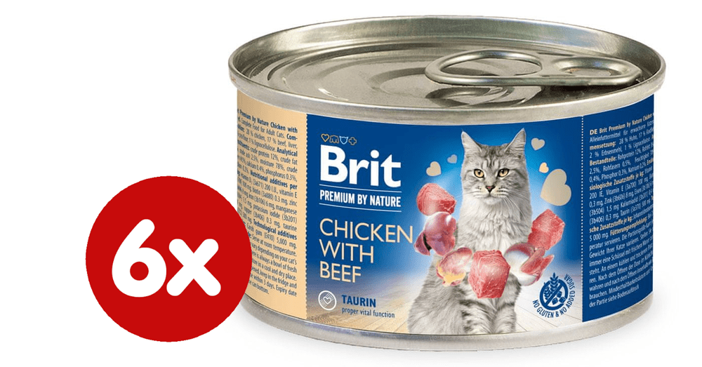 Brit Premium by Nature Chicken with Beef 6x200 g