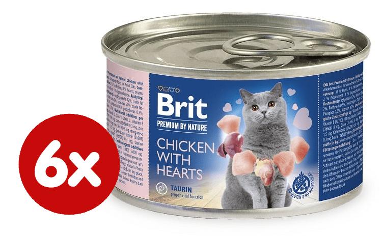 Brit Premium by Nature Chicken with Hearts 6x200 g