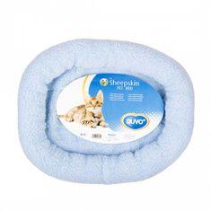 Duvo+ Oválný pelíšek z ovčí kůže - modrý 40x45cm