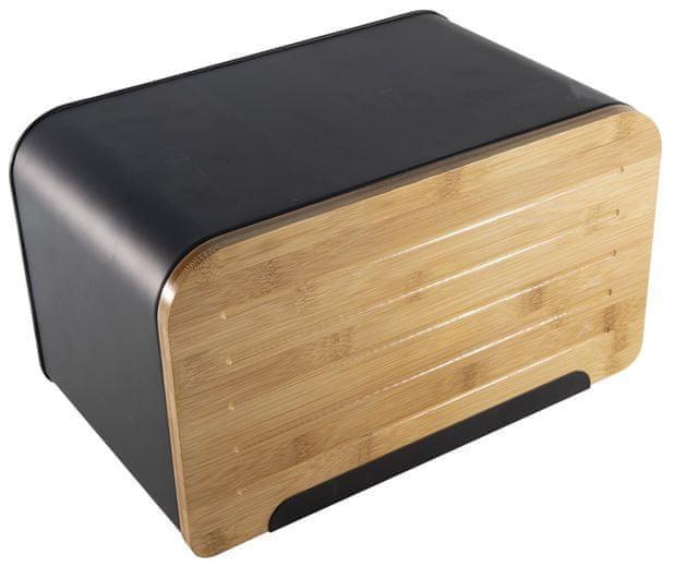 Marex Trade Chlebovka černá ocel, bambusové prkénko, 35x21x20 cm