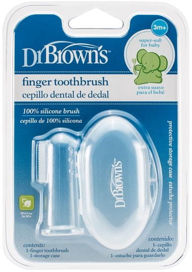 Dr.Brown´s Zubná kefka prstová masážna s puzdrom 3m+