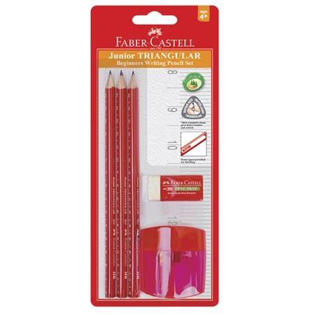 Faber-Castell Grafitová tužka, HB, trojhranné, 3ks, s ořezávátkem a pryží