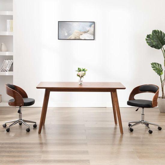 shumee Vrtljivi jedilni stoli 2 kosa črni ukrivljen les in um. usnje