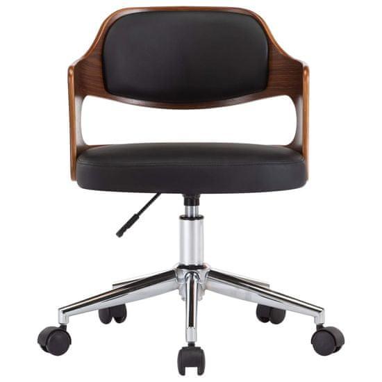 shumee Vrtljiv pisarniški stol črn ukrivljen les in umetno usnje