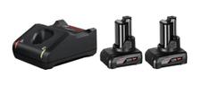 BOSCH Professional komplet 2x baterija GBA 12 V, 6,0 Ah + polnilnik GAL 12V-40 (1600A01B20) - Odprta embalaža