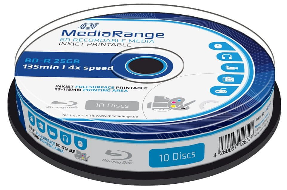 MediaRange BD-R BLU-RAY 25GB 4× spindl 10 ks Inkjet Printable (MR496)