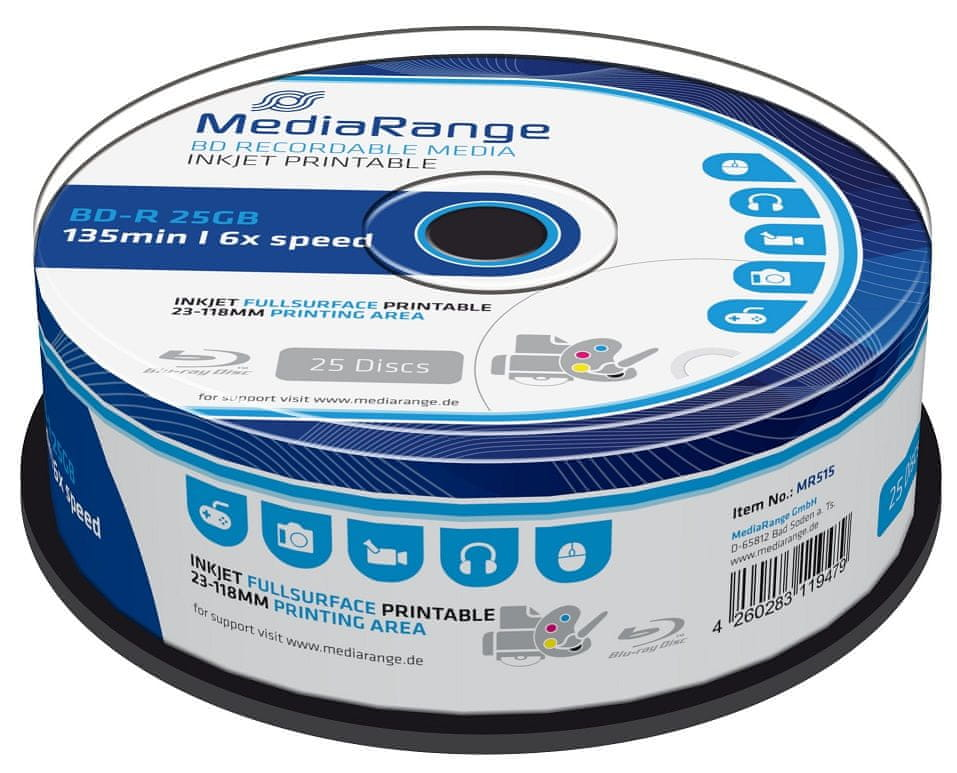 MediaRange BD-R BLU-RAY 25GB 6× spindl 25 ks Inkjet Printable (MR515)