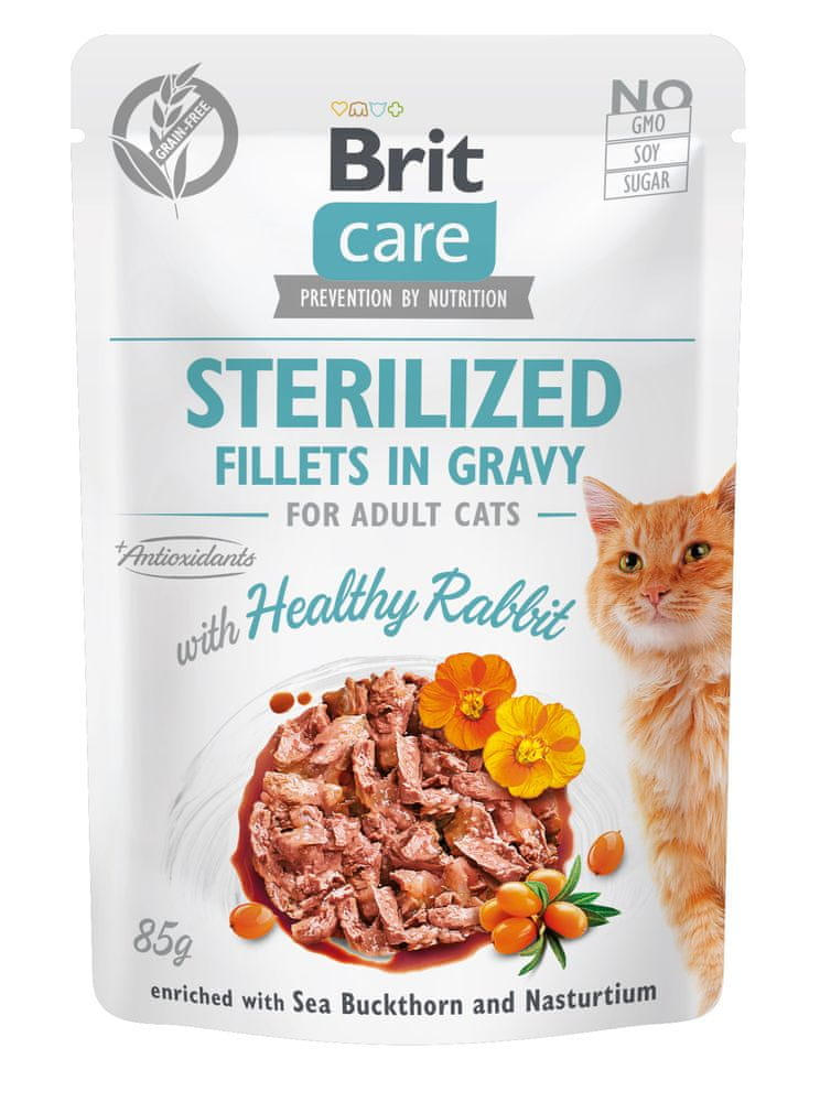 Brit Care Cat Sterilized Fillets in Gravy with Healthy Rabbit 24x85 g
