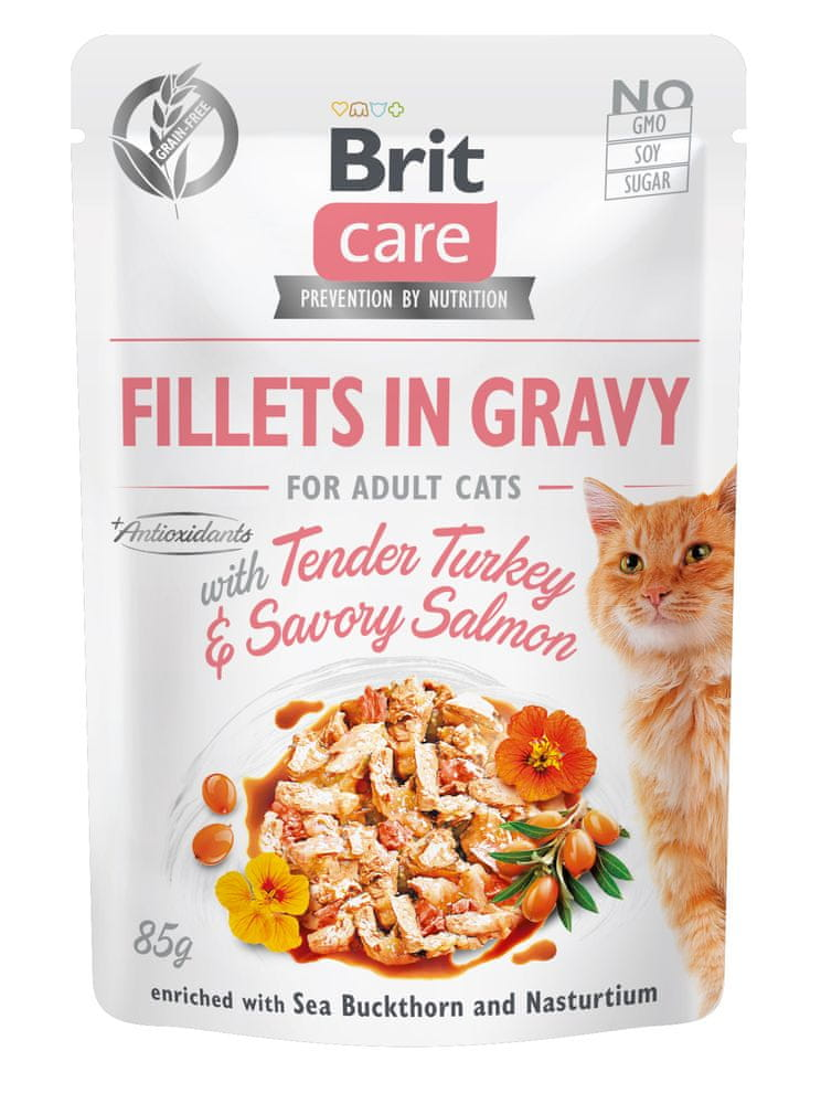 Brit Care Cat Fillets in Gravy with Tender Turkey & Savory Salmon 24x85 g