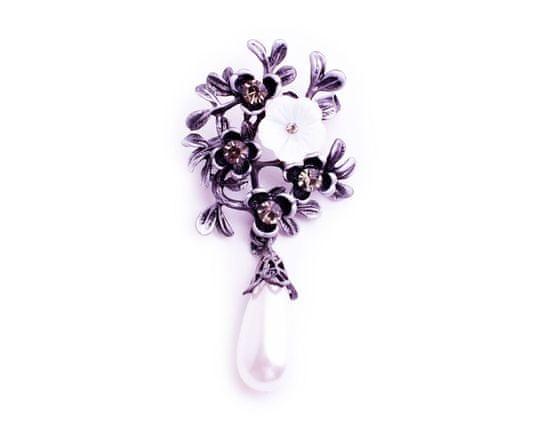 DARKA Brož Snítka s květy a krystaly BRBI0013 Bižuterie