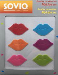 SOVIO značky na sklenice MyLips 6ks