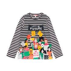 Boboli dívčí tričko s dlouhým rukávem KIDS FOR CHANGE 104 černá/bílá