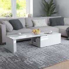 shumee Konferenčný stolík lesklý biely 150x50x35 cm drevotrieska