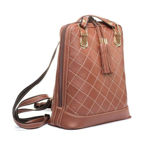 VegaLM Kožený ruksak z pravej kože so strapcami a možnosťou nosenia ako kabelky v tehlovej farbe