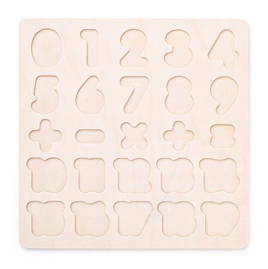 Woody sestavljanka s številki na plošči, lesena