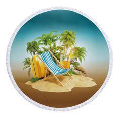 """GOLDSUN Ręcznik plażowy / koc """"Tropical"""" - zielony - 155 cm"""
