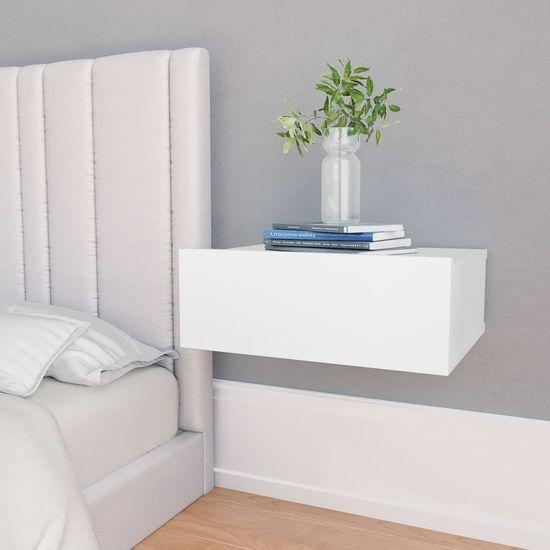 shumee Stenska nočna omarica bela 40x30x15 cm iverna plošča