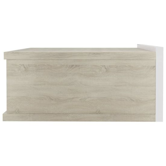 shumee Stenska nočna omarica bela in sonoma hrast 40x30x15 cm