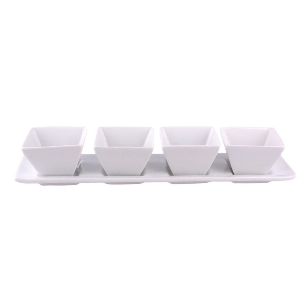Marex Trade Porcelánové servírovací misky 4 ks s podnosem