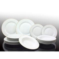 Marex Trade komplet porcelanastih krožnikov, beli z zlato črto, 18 kosov - Odprta embalaža