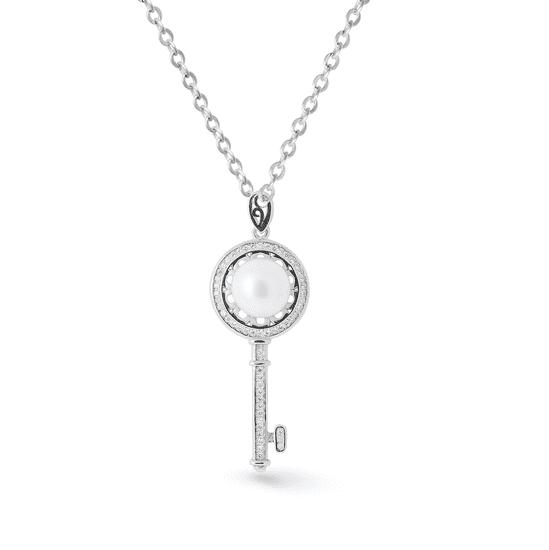 Tiniana Srebrna zawieszka z prawdziwą perłą rzeczną klucz