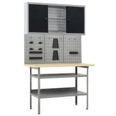 shumee Delovna miza s tremi stenskimi paneli in eno omarico
