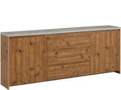 Danish Style Komoda Mecan, 200 cm, betón/dub