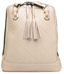 VegaLM Kožený ruksak z pravej kože so strapcami a možnosťou nosenia ako kabelky v béžovej farbe