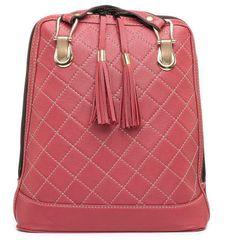 VegaLM Kožený ruksak z pravej kože so strapcami a možnosťou nosenia ako kabelky v bordovej farbe