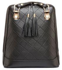 VegaLM Kožený ruksak z pravej kože so strapcami a možnosťou nosenia ako kabelky v čiernej farbe