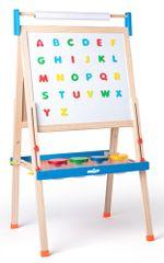 Woody ABC tábla betűkkel, papírtekercscsel és csészékkel