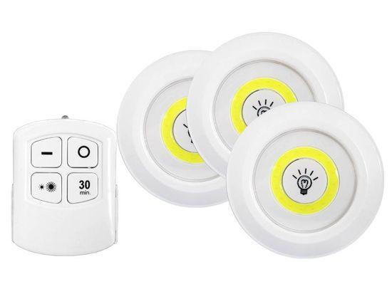 LTC Set 3 COB LED svetilk z daljincem 3x1W