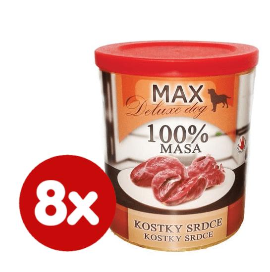 FALCO MAX Deluxe konzerve za odrasle pse, s koščki srčkov, 8x 800 g